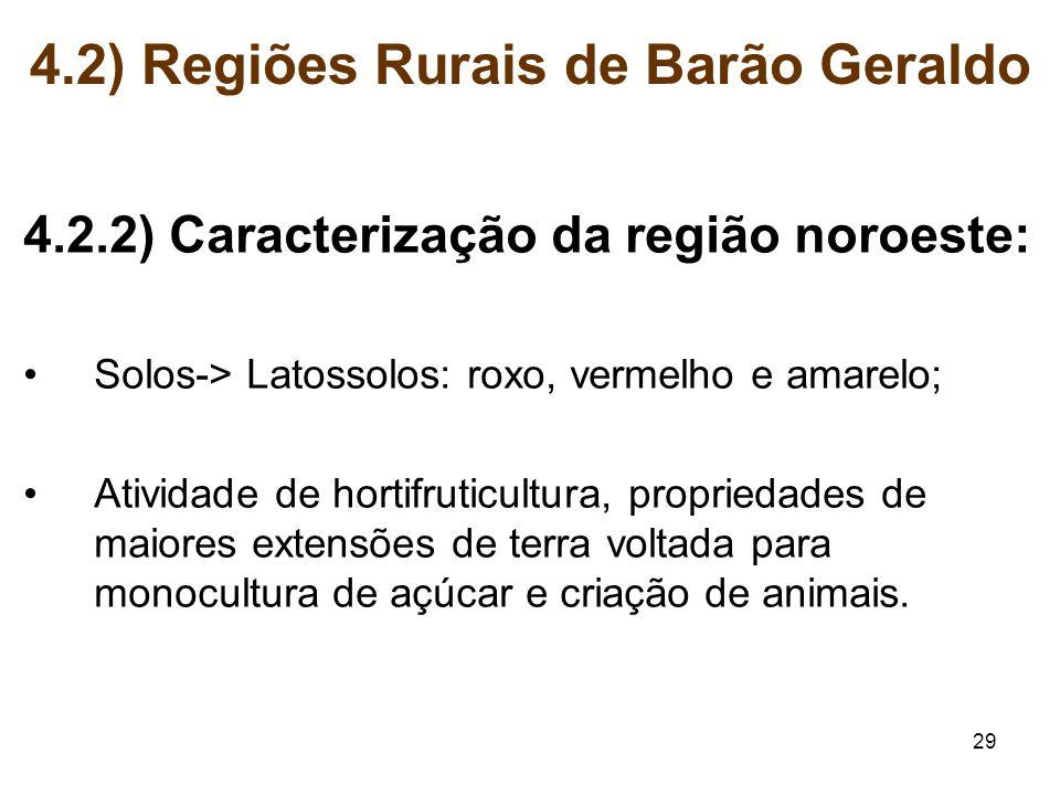 29 4.2.2) Caracterização da região noroeste: Solos-> Latossolos: roxo, vermelho e amarelo; Atividade de hortifruticultura, propriedades de maiores ext