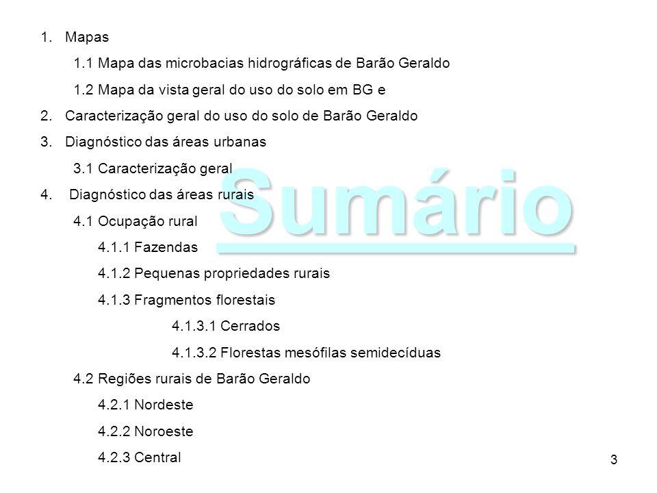 3 Sumário 1.Mapas 1.1 Mapa das microbacias hidrográficas de Barão Geraldo 1.2 Mapa da vista geral do uso do solo em BG e 2.Caracterização geral do uso