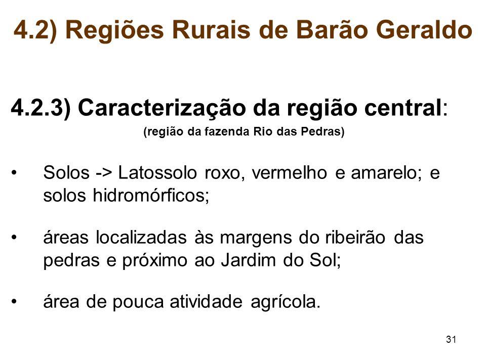 31 4.2.3) Caracterização da região central: (região da fazenda Rio das Pedras) Solos -> Latossolo roxo, vermelho e amarelo; e solos hidromórficos; áre