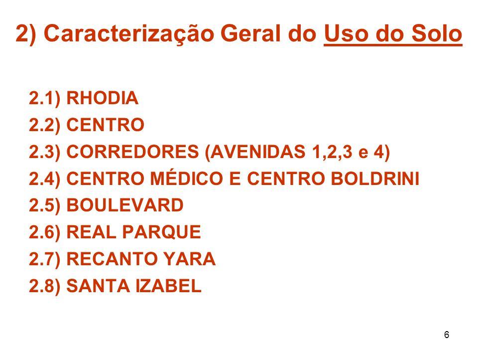 6 2) Caracterização Geral do Uso do Solo 2.1) RHODIA 2.2) CENTRO 2.3) CORREDORES (AVENIDAS 1,2,3 e 4) 2.4) CENTRO MÉDICO E CENTRO BOLDRINI 2.5) BOULEV
