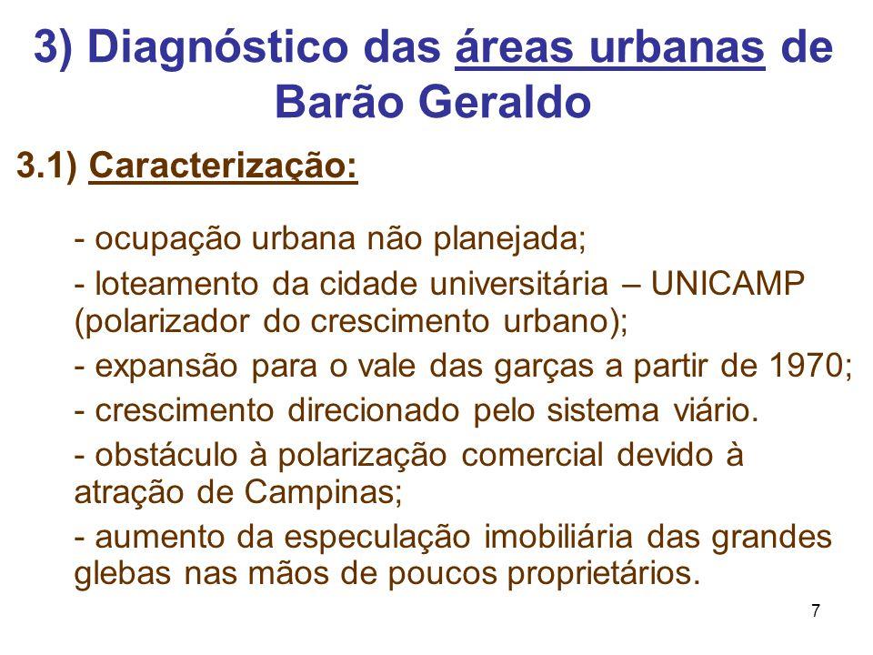 7 3.1) Caracterização: - ocupação urbana não planejada; - loteamento da cidade universitária – UNICAMP (polarizador do crescimento urbano); - expansão