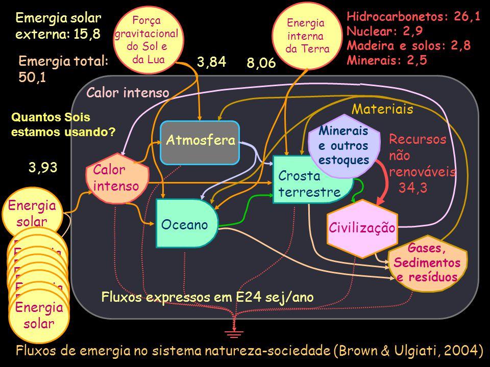 Fluxos de emergia no sistema natureza-sociedade (Brown & Ulgiati, 2004) Oceano Gases, Sedimentos e resíduos Energia solar Atmosfera Crosta terrestre C
