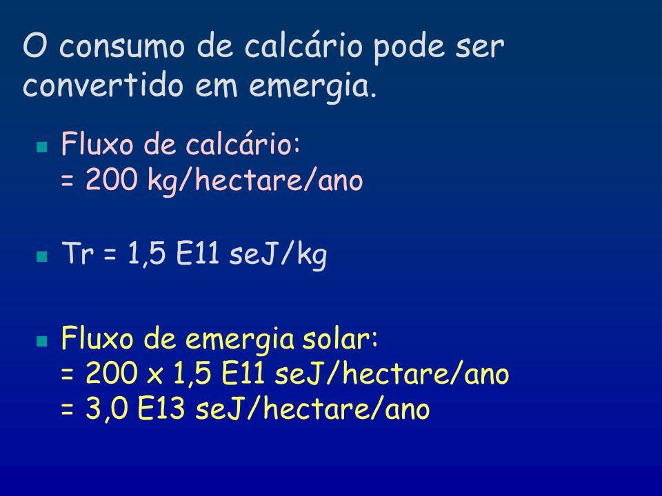 O consumo de calcário pode ser convertido em emergia. Fluxo de calcário: = 200 kg/hectare/ano Tr = 1,5 E11 seJ/kg Fluxo de emergia solar: = 200 x 1,5