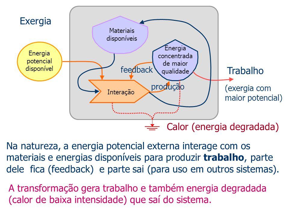 Energia potencial disponível Materiais disponíveis Energia concentrada de maior qualidade Interação Na natureza, a energia potencial externa interage