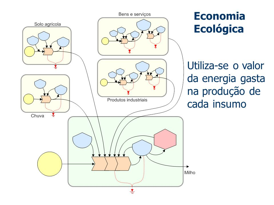 Utiliza-se o valor da energia gasta na produção de cada insumo Economia Ecológica
