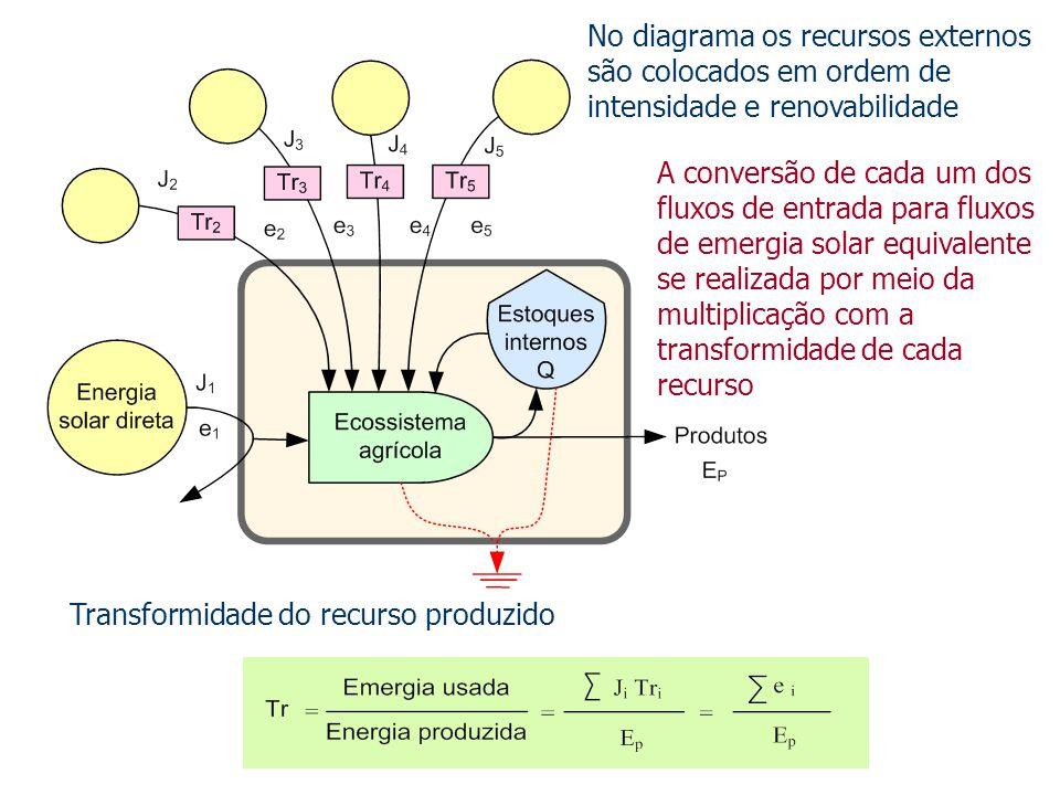 No diagrama os recursos externos são colocados em ordem de intensidade e renovabilidade Transformidade do recurso produzido A conversão de cada um dos