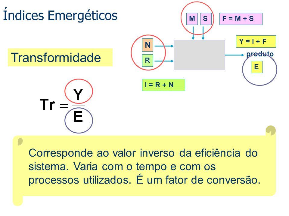 Índices Emergéticos Corresponde ao valor inverso da eficiência do sistema. Varia com o tempo e com os processos utilizados. É um fator de conversão. T