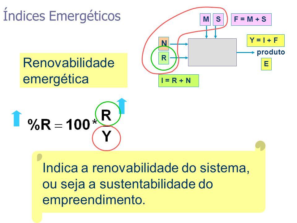 Indica a renovabilidade do sistema, ou seja a sustentabilidade do empreendimento. Renovabilidade emergética MSF = M + S N R I = R + N produto Y = I +