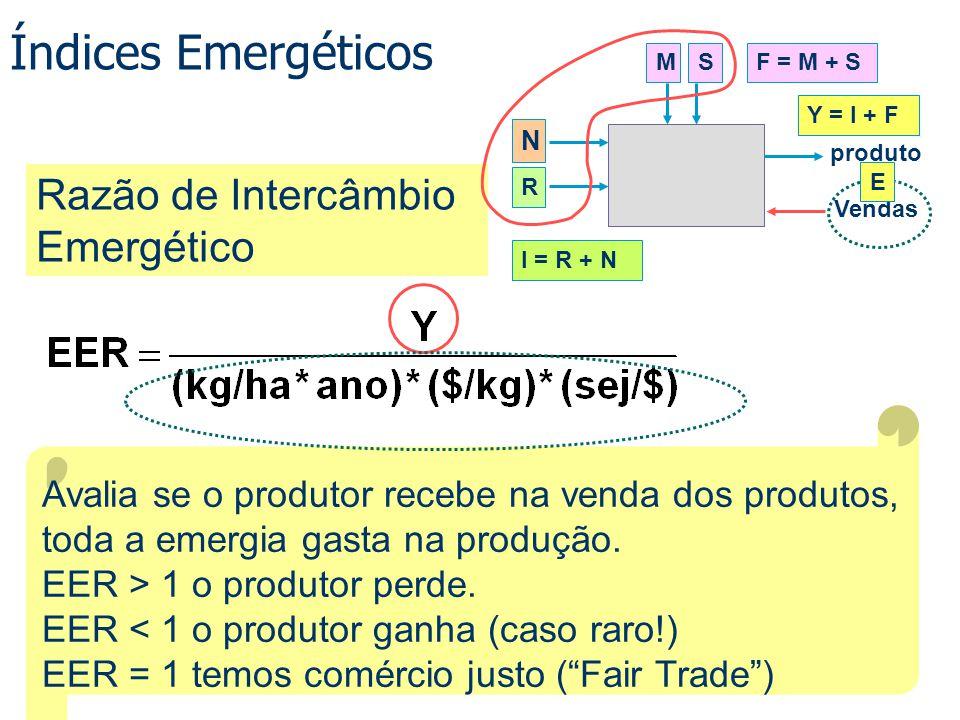 Índices Emergéticos Avalia se o produtor recebe na venda dos produtos, toda a emergia gasta na produção. EER > 1 o produtor perde. EER < 1 o produtor