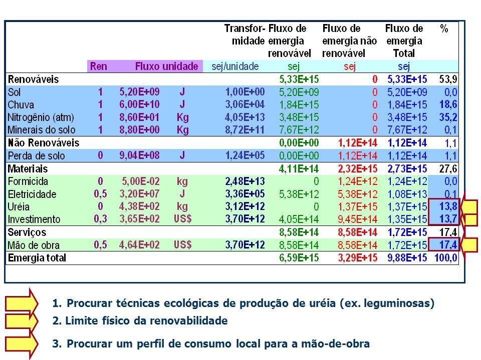 1.Procurar técnicas ecológicas de produção de uréia (ex. leguminosas) 2. Limite físico da renovabilidade 3.Procurar um perfil de consumo local para a