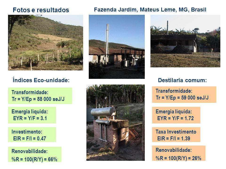 Fazenda Jardim, Mateus Leme, MG, Brasil Transformidade: Tr = Y/Ep = 59 000 seJ/J Emergia líquida: EYR = Y/F = 3.1 Investimento: EIR = F/I = 0.47 Renov