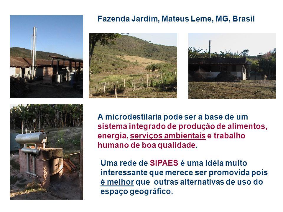 Fazenda Jardim, Mateus Leme, MG, Brasil A microdestilaria pode ser a base de um sistema integrado de produção de alimentos, energia, serviços ambienta