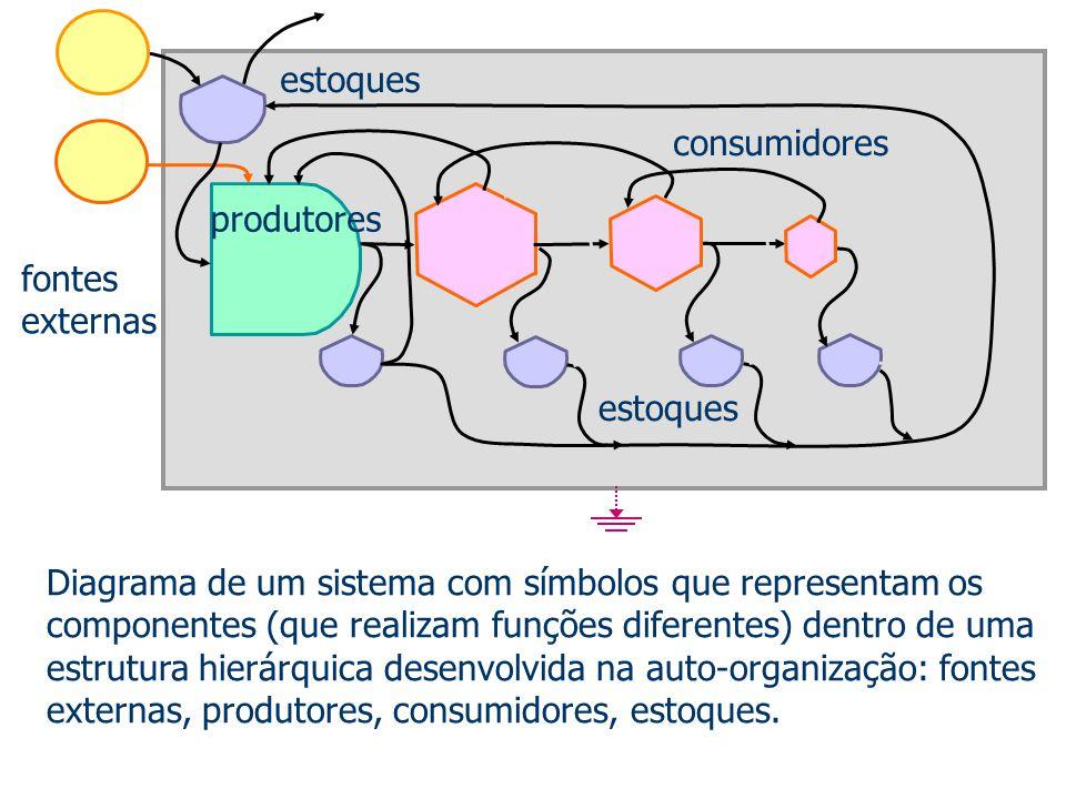 Diagrama de um sistema com símbolos que representam os componentes (que realizam funções diferentes) dentro de uma estrutura hierárquica desenvolvida