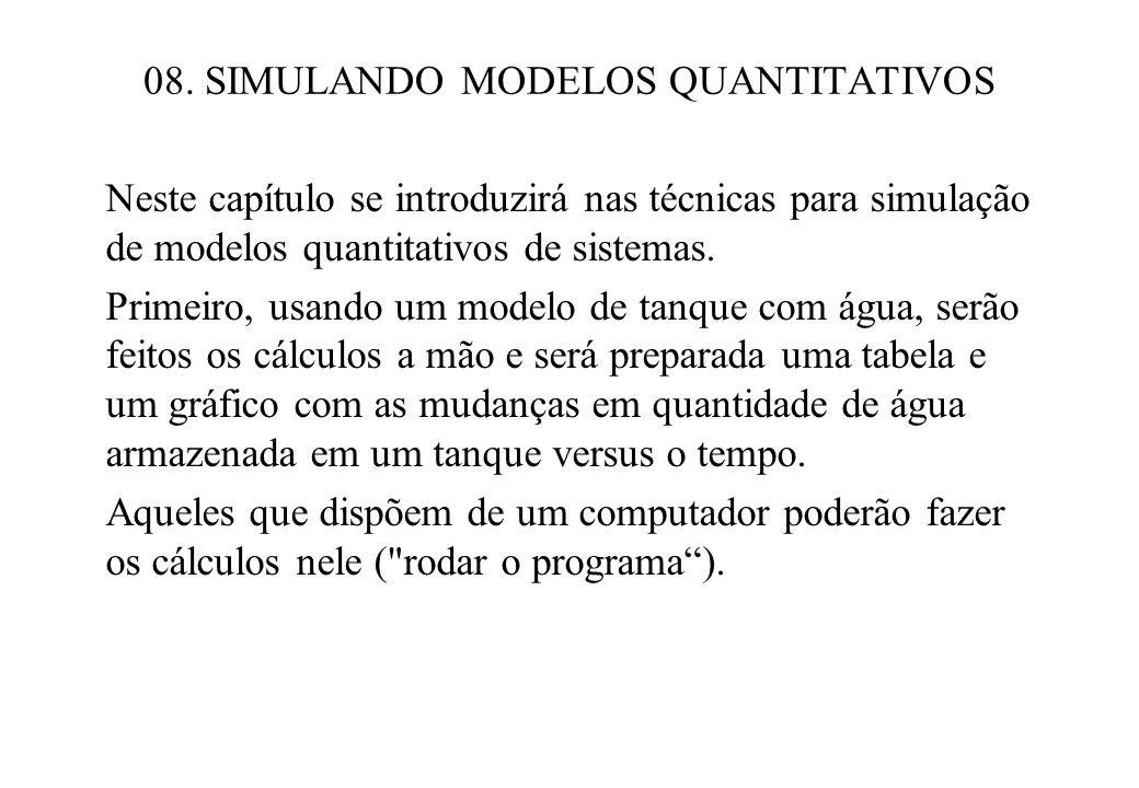 08. SIMULANDO MODELOS QUANTITATIVOS Neste capítulo se introduzirá nas técnicas para simulação de modelos quantitativos de sistemas. Primeiro, usando u