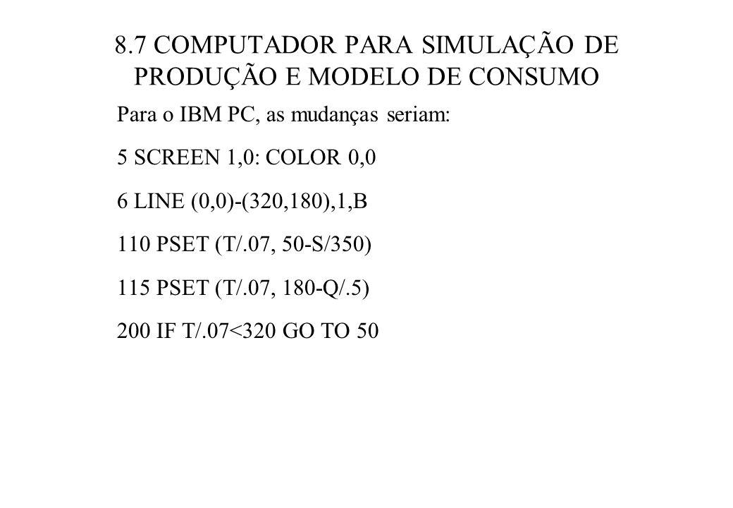 8.7 COMPUTADOR PARA SIMULAÇÃO DE PRODUÇÃO E MODELO DE CONSUMO Para o IBM PC, as mudanças seriam: 5 SCREEN 1,0: COLOR 0,0 6 LINE (0,0)-(320,180),1,B 110 PSET (T/.07, 50-S/350) 115 PSET (T/.07, 180-Q/.5) 200 IF T/.07<320 GO TO 50