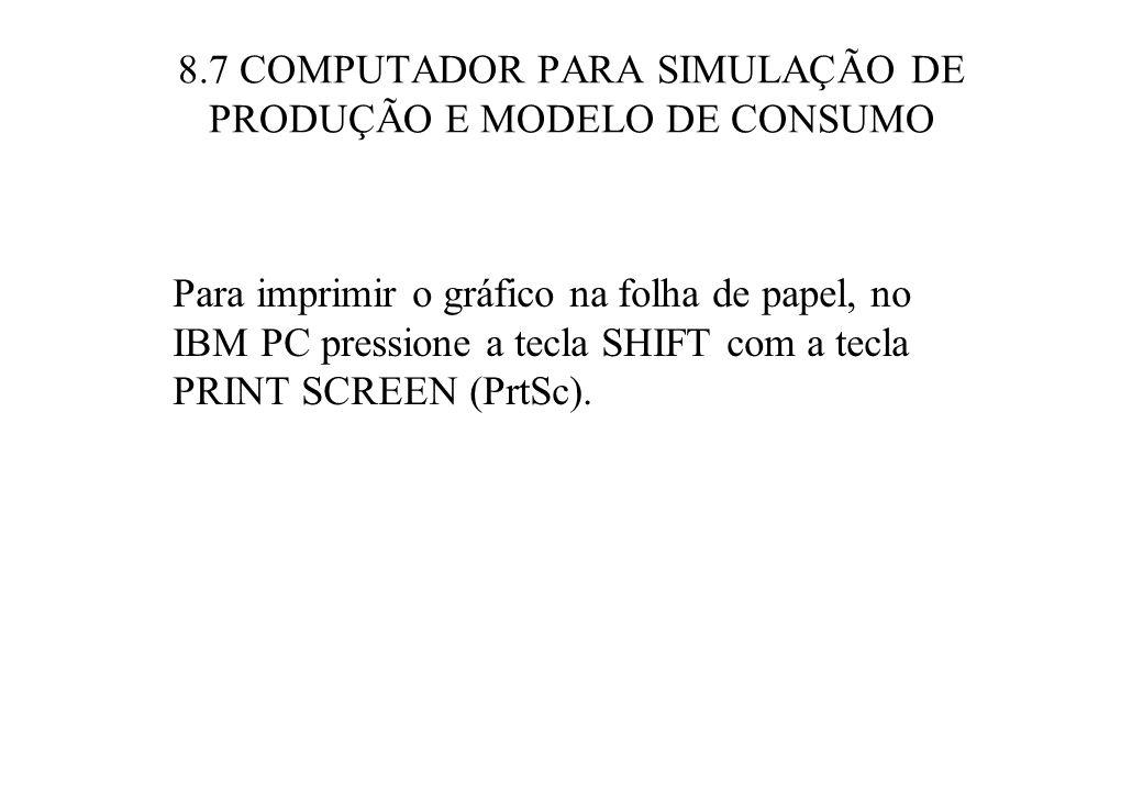 8.7 COMPUTADOR PARA SIMULAÇÃO DE PRODUÇÃO E MODELO DE CONSUMO Para imprimir o gráfico na folha de papel, no IBM PC pressione a tecla SHIFT com a tecla PRINT SCREEN (PrtSc).