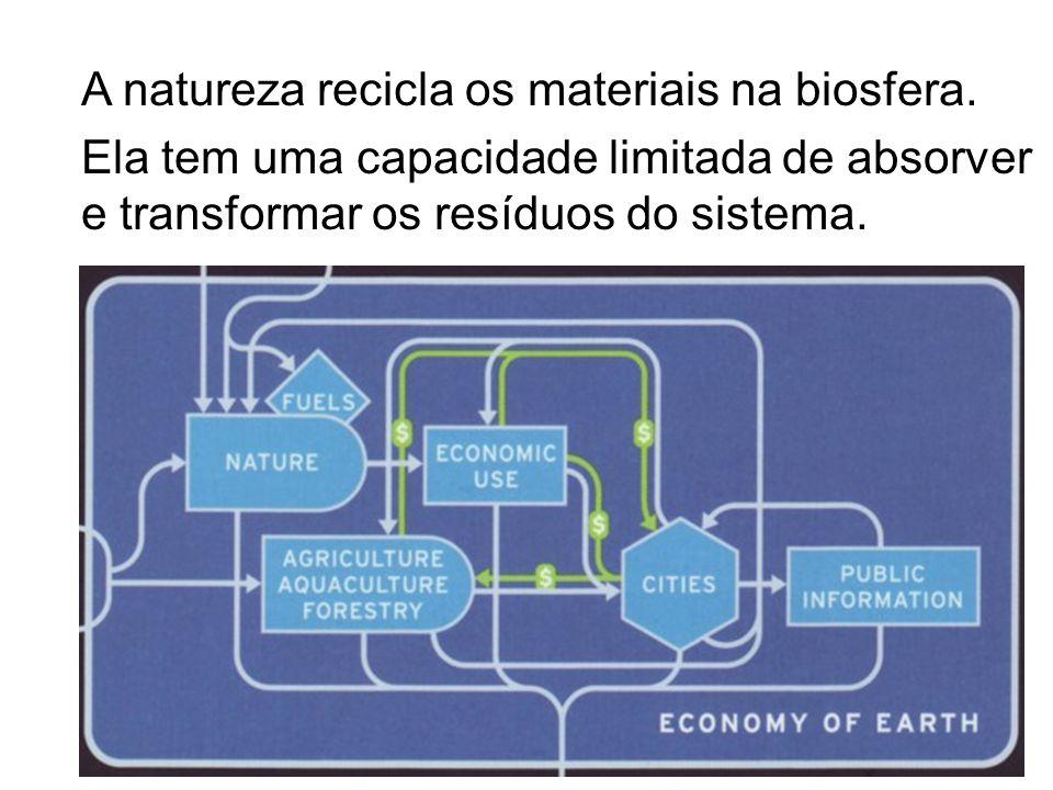 A natureza recicla os materiais na biosfera. Ela tem uma capacidade limitada de absorver e transformar os resíduos do sistema.