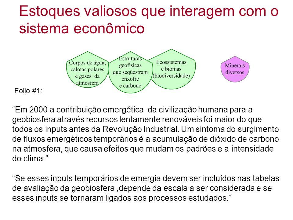 """Estoques valiosos que interagem com o sistema econômico """"Em 2000 a contribuição emergética da civilização humana para a geobiosfera através recursos l"""
