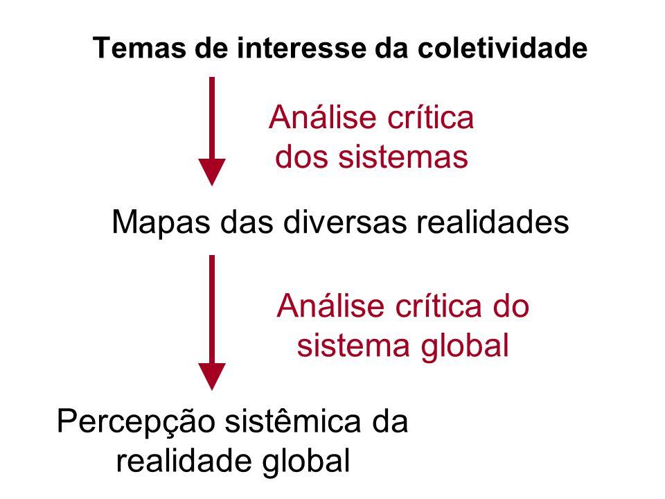 Temas de interesse da coletividade Análise crítica dos sistemas Mapas das diversas realidades Percepção sistêmica da realidade global Análise crítica