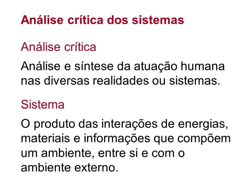 Análise crítica dos sistemas Análise e síntese da atuação humana nas diversas realidades ou sistemas. O produto das interações de energias, materiais