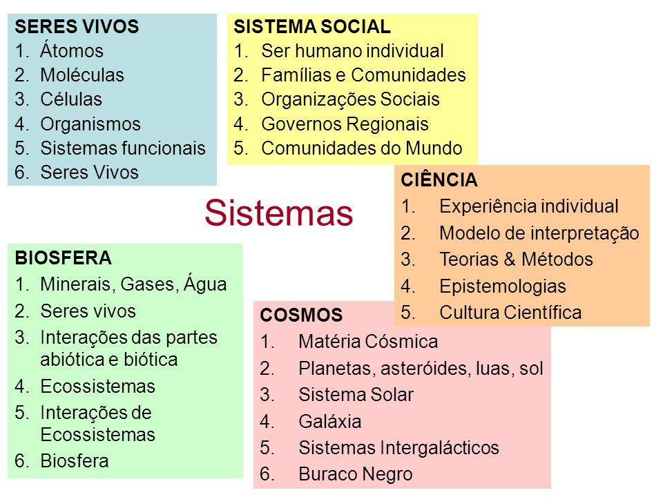 Sistemas SERES VIVOS 1.Átomos 2.Moléculas 3.Células 4.Organismos 5.Sistemas funcionais 6.Seres Vivos SISTEMA SOCIAL 1.Ser humano individual 2.Famílias