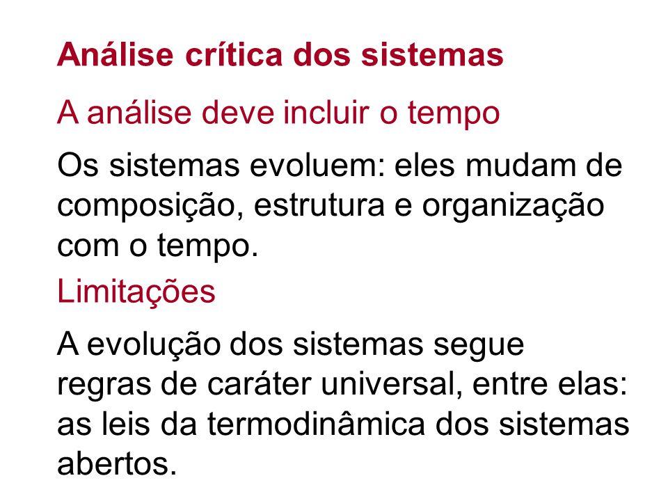 Análise crítica dos sistemas Os sistemas evoluem: eles mudam de composição, estrutura e organização com o tempo. A evolução dos sistemas segue regras