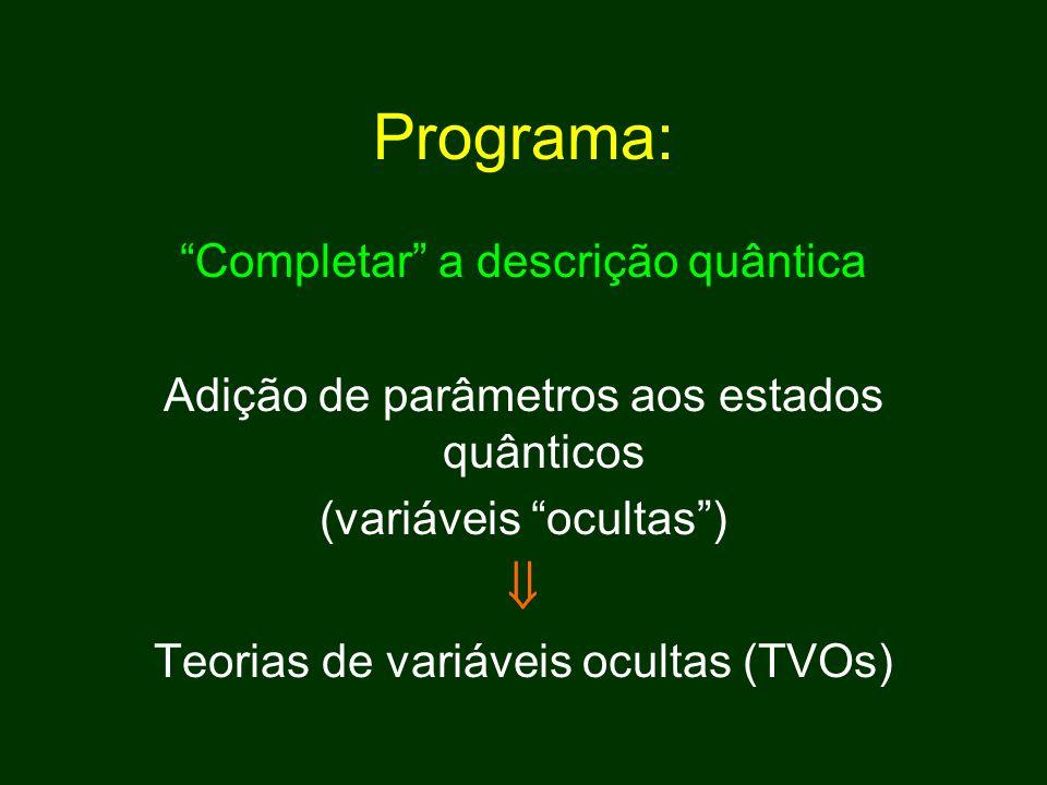 Programa: Completar a descrição quântica Adição de parâmetros aos estados quânticos (variáveis ocultas )  Teorias de variáveis ocultas (TVOs)