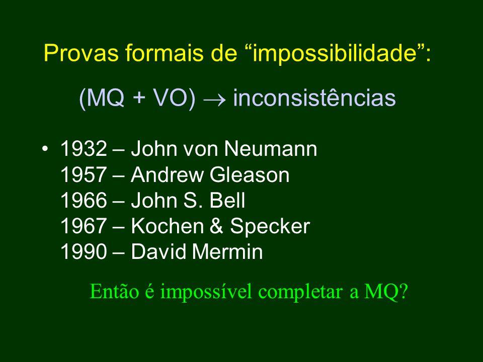 Provas formais de impossibilidade : (MQ + VO)  inconsistências 1932 – John von Neumann 1957 – Andrew Gleason 1966 – John S.
