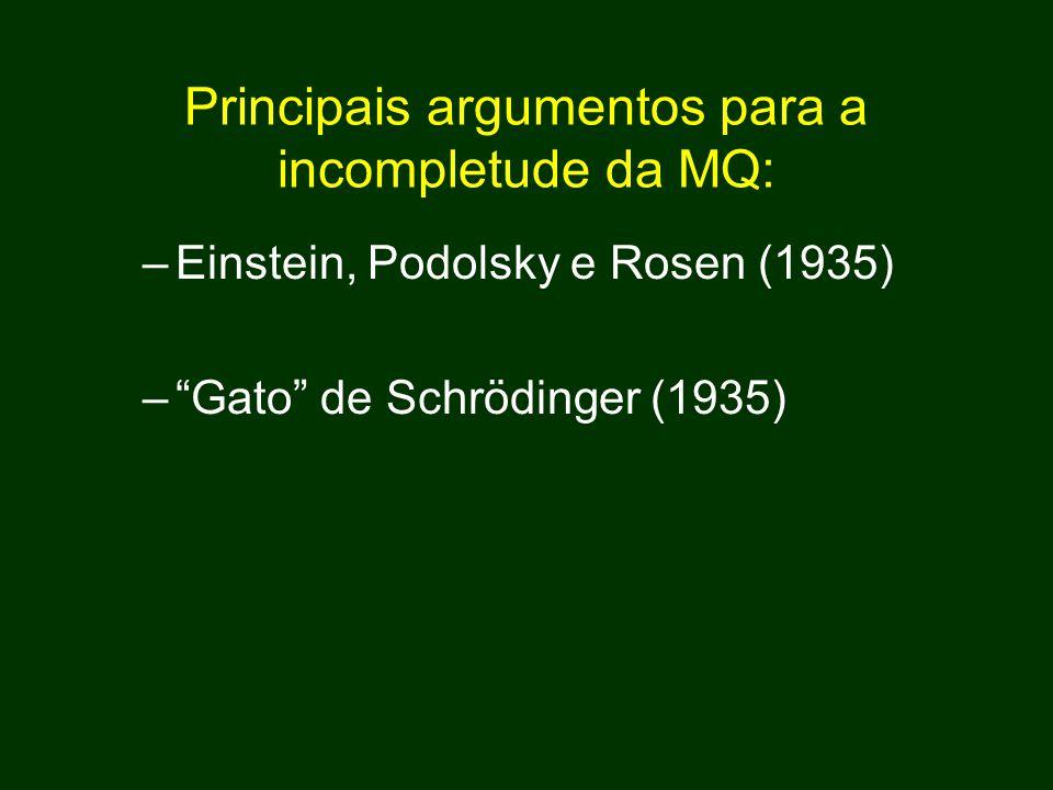 Principais argumentos para a incompletude da MQ: –Einstein, Podolsky e Rosen (1935) – Gato de Schrödinger (1935)