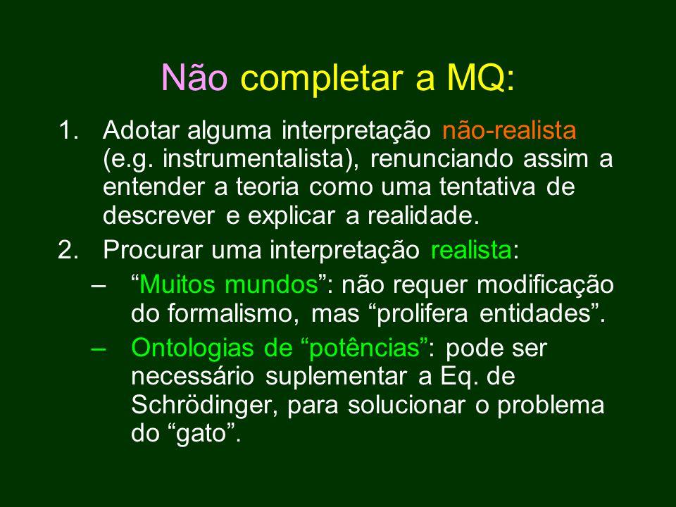 Não completar a MQ: 1.Adotar alguma interpretação não-realista (e.g.