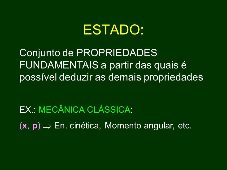 ESTADO: Conjunto de PROPRIEDADES FUNDAMENTAIS a partir das quais é possível deduzir as demais propriedades EX.: MECÂNICA CLÁSSICA: (x, p)  En.