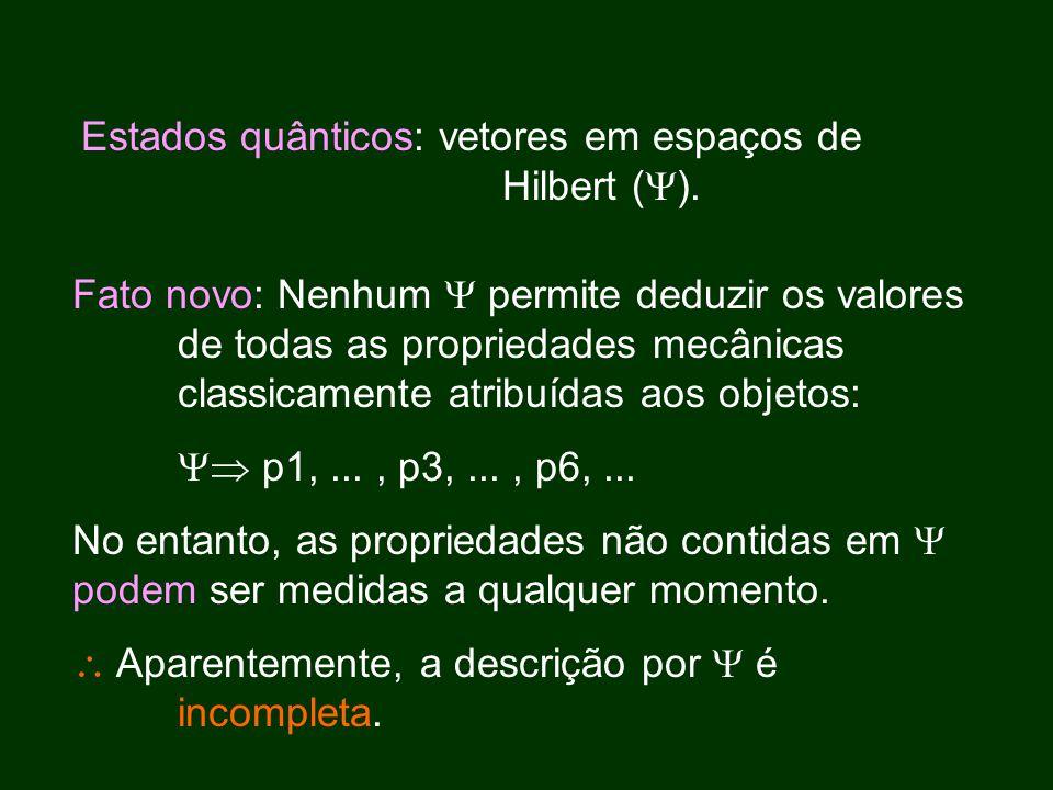 Fato novo: Nenhum  permite deduzir os valores de todas as propriedades mecânicas classicamente atribuídas aos objetos:  p1,..., p3,..., p6,...