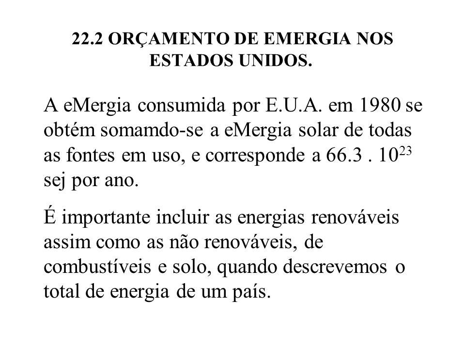 22.2 ORÇAMENTO DE EMERGIA NOS ESTADOS UNIDOS. A eMergia consumida por E.U.A. em 1980 se obtém somamdo-se a eMergia solar de todas as fontes em uso, e