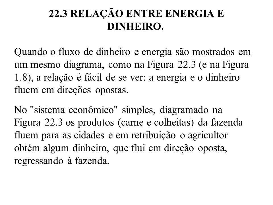 22.3 RELAÇÃO ENTRE ENERGIA E DINHEIRO. Quando o fluxo de dinheiro e energia são mostrados em um mesmo diagrama, como na Figura 22.3 (e na Figura 1.8),