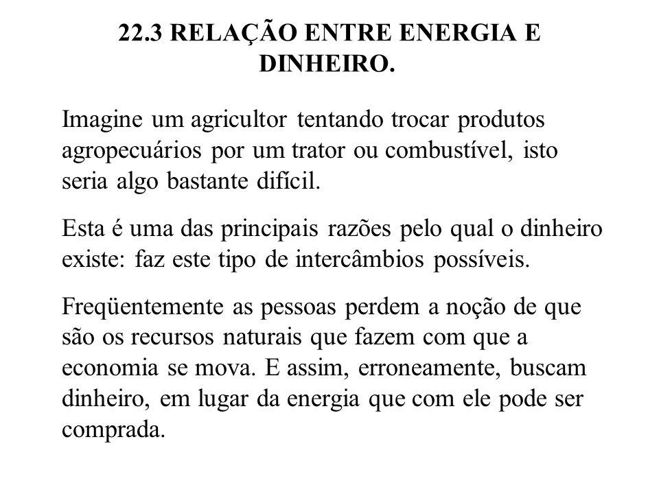 22.3 RELAÇÃO ENTRE ENERGIA E DINHEIRO. Imagine um agricultor tentando trocar produtos agropecuários por um trator ou combustível, isto seria algo bast