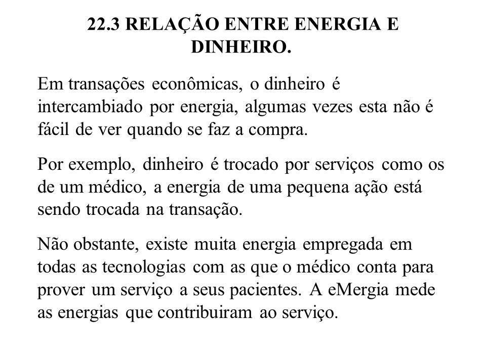 22.3 RELAÇÃO ENTRE ENERGIA E DINHEIRO. Em transações econômicas, o dinheiro é intercambiado por energia, algumas vezes esta não é fácil de ver quando