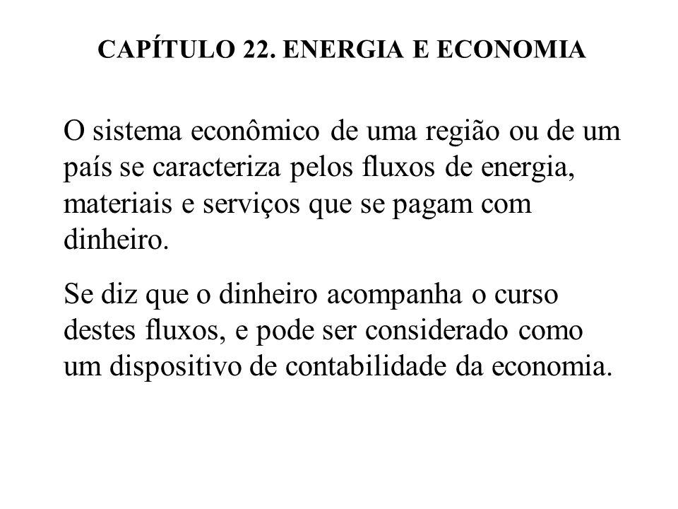 CAPÍTULO 22. ENERGIA E ECONOMIA O sistema econômico de uma região ou de um país se caracteriza pelos fluxos de energia, materiais e serviços que se pa