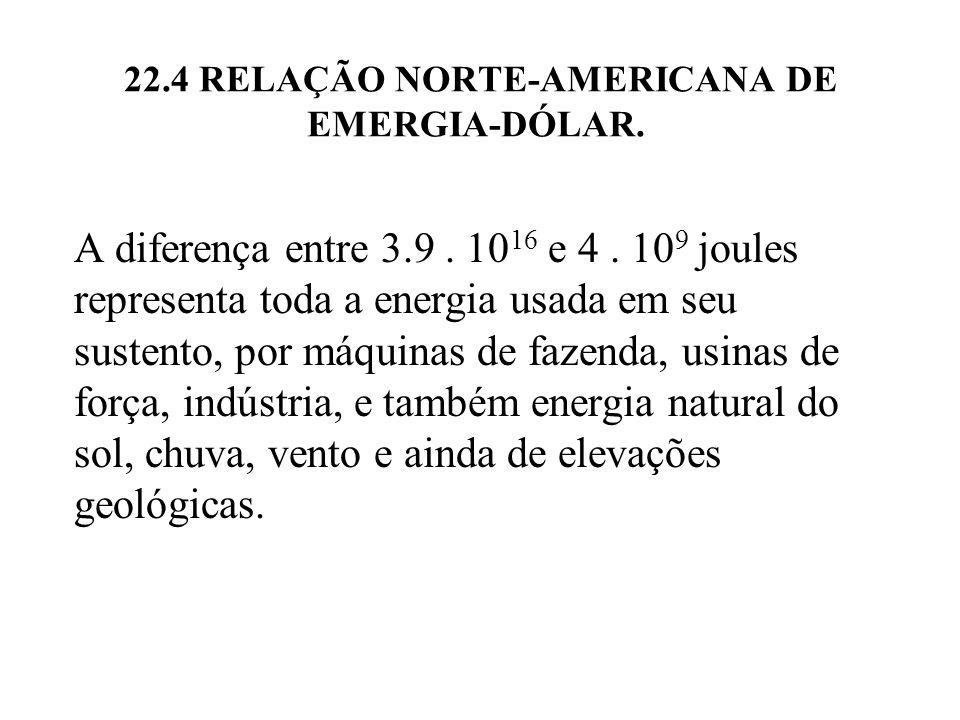 22.4 RELAÇÃO NORTE-AMERICANA DE EMERGIA-DÓLAR. A diferença entre 3.9. 10 16 e 4. 10 9 joules representa toda a energia usada em seu sustento, por máqu