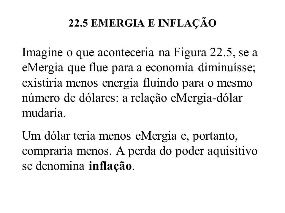 22.5 EMERGIA E INFLAÇÃO Imagine o que aconteceria na Figura 22.5, se a eMergia que flue para a economia diminuísse; existiria menos energia fluindo pa