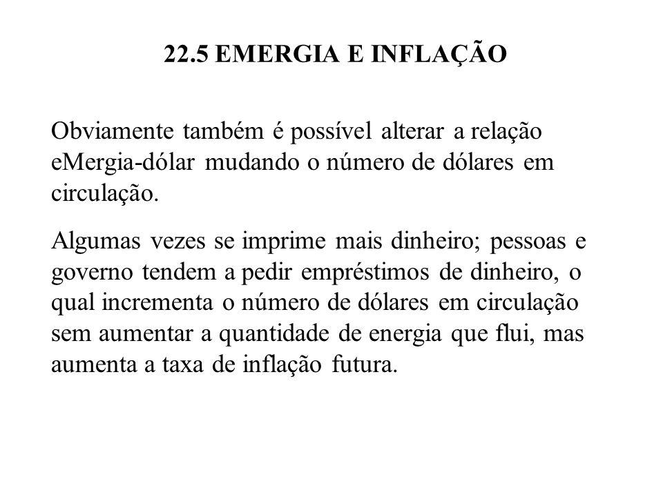 22.5 EMERGIA E INFLAÇÃO Obviamente também é possível alterar a relação eMergia-dólar mudando o número de dólares em circulação. Algumas vezes se impri