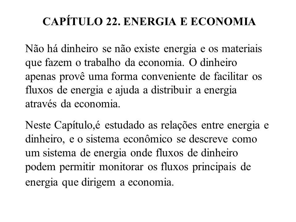 CAPÍTULO 22. ENERGIA E ECONOMIA Não há dinheiro se não existe energia e os materiais que fazem o trabalho da economia. O dinheiro apenas provê uma for
