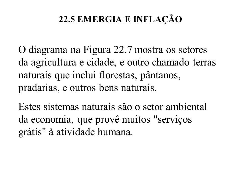 22.5 EMERGIA E INFLAÇÃO O diagrama na Figura 22.7 mostra os setores da agricultura e cidade, e outro chamado terras naturais que inclui florestas, pân