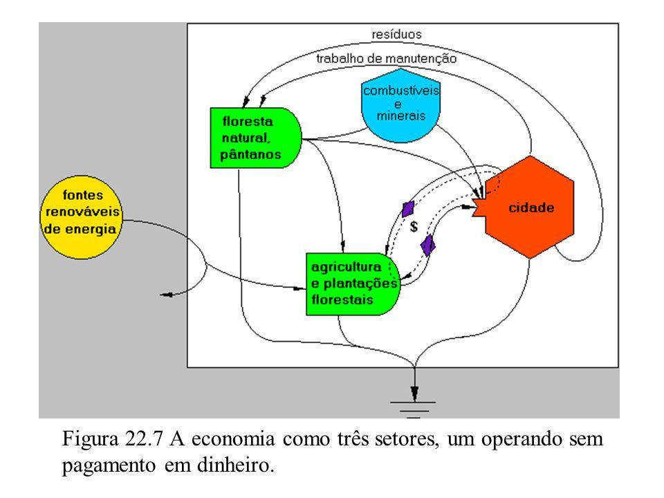 Figura 22.7 A economia como três setores, um operando sem pagamento em dinheiro.
