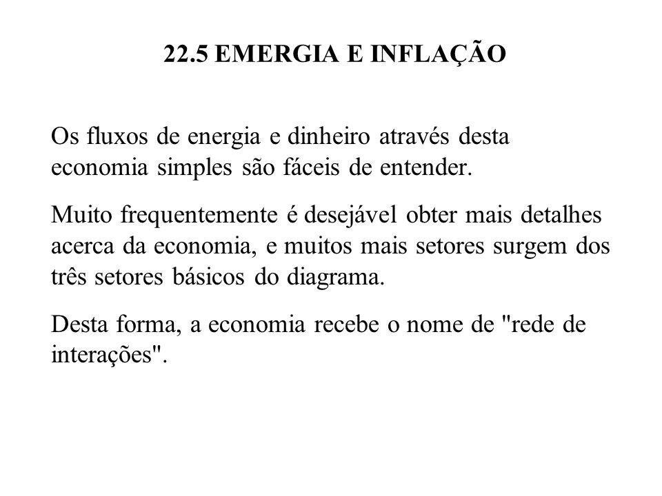 22.5 EMERGIA E INFLAÇÃO Os fluxos de energia e dinheiro através desta economia simples são fáceis de entender. Muito frequentemente é desejável obter