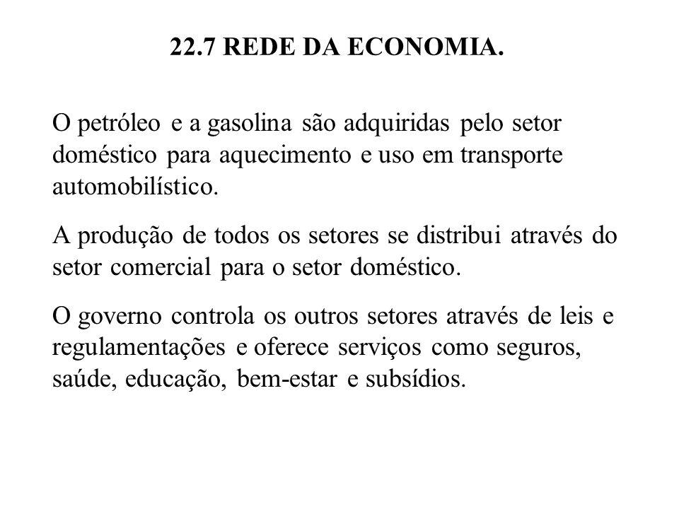 22.7 REDE DA ECONOMIA. O petróleo e a gasolina são adquiridas pelo setor doméstico para aquecimento e uso em transporte automobilístico. A produção de
