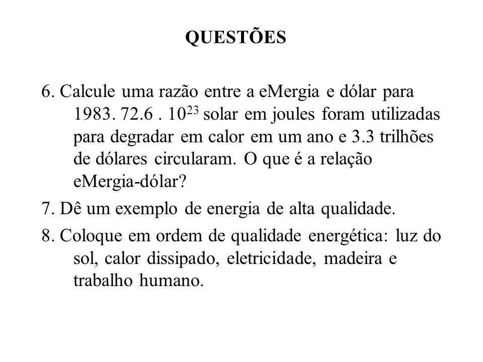 QUESTÕES 6. Calcule uma razão entre a eMergia e dólar para 1983. 72.6. 10 23 solar em joules foram utilizadas para degradar em calor em um ano e 3.3 t