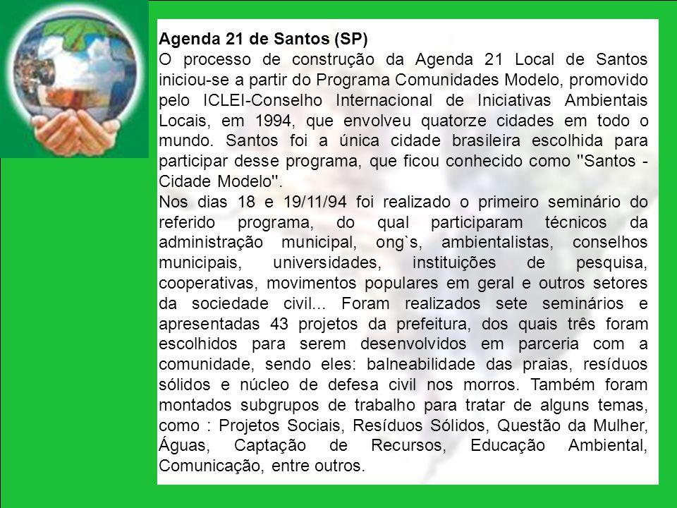 Agenda 21 de Santos (SP) O processo de construção da Agenda 21 Local de Santos iniciou-se a partir do Programa Comunidades Modelo, promovido pelo ICLE