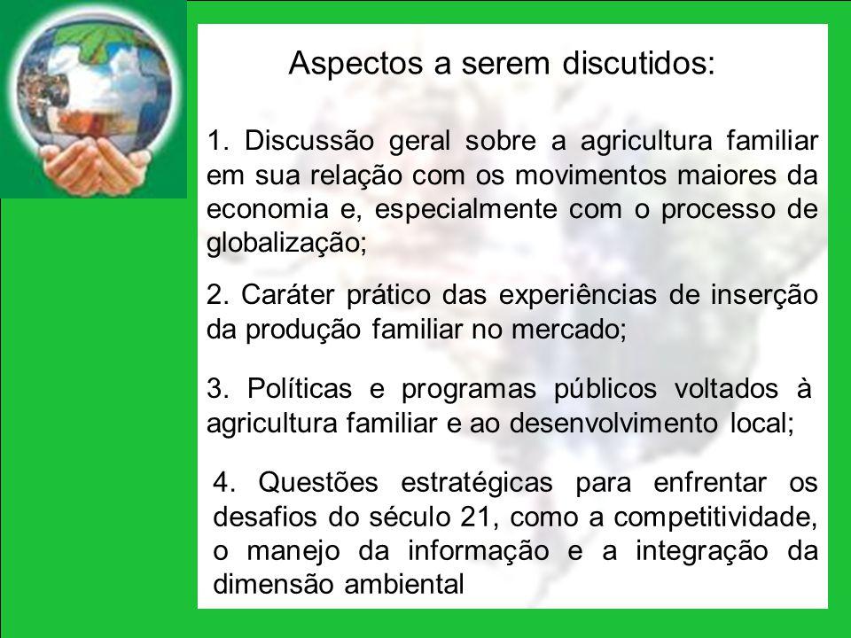 1. Discussão geral sobre a agricultura familiar em sua relação com os movimentos maiores da economia e, especialmente com o processo de globalização;