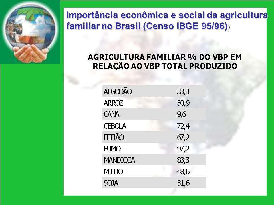 Importância econômica e social da agricultura familiar no Brasil (Censo IBGE 95/96) Importância econômica e social da agricultura familiar no Brasil (