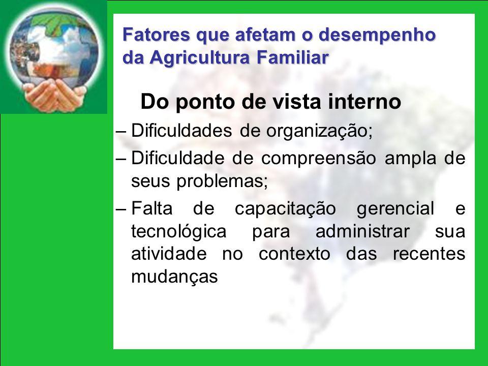 Do ponto de vista interno –Dificuldades de organização; –Dificuldade de compreensão ampla de seus problemas; –Falta de capacitação gerencial e tecnoló